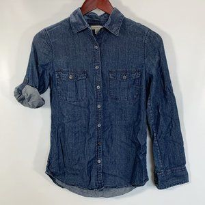 J Crew Keeper Chambray Shirt Dark Rinse Button Up